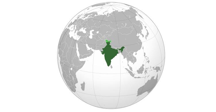 india world map
