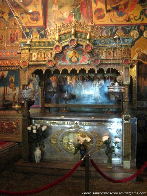 saint basil lies in a silver casket