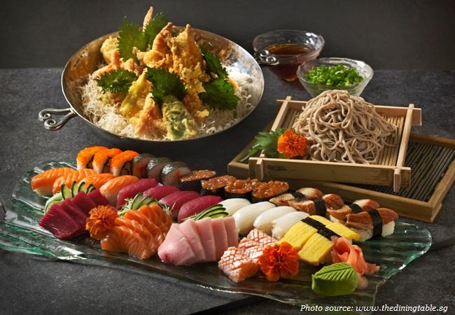 sushi sashimi tempura soba