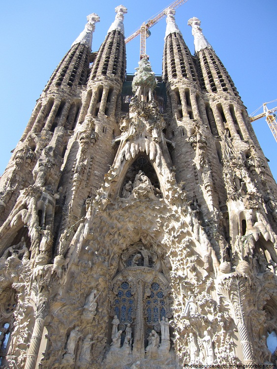 sagrada familia high on the nativity facade