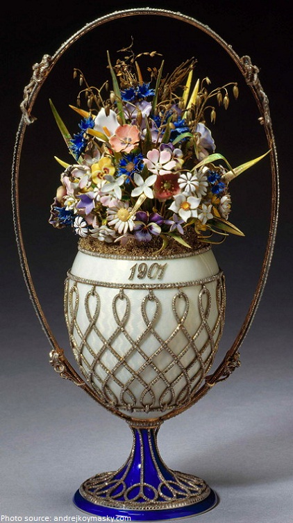 faberge basket of flowers egg