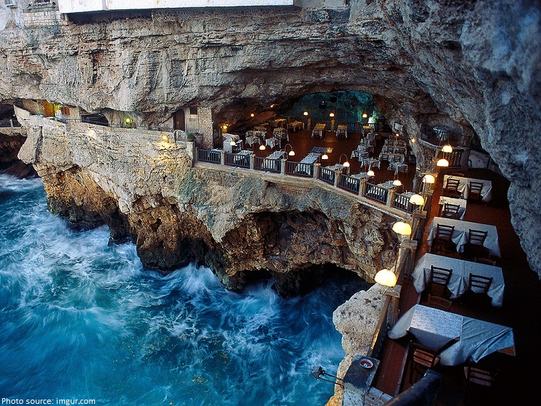 restaurant built into a grotto italy