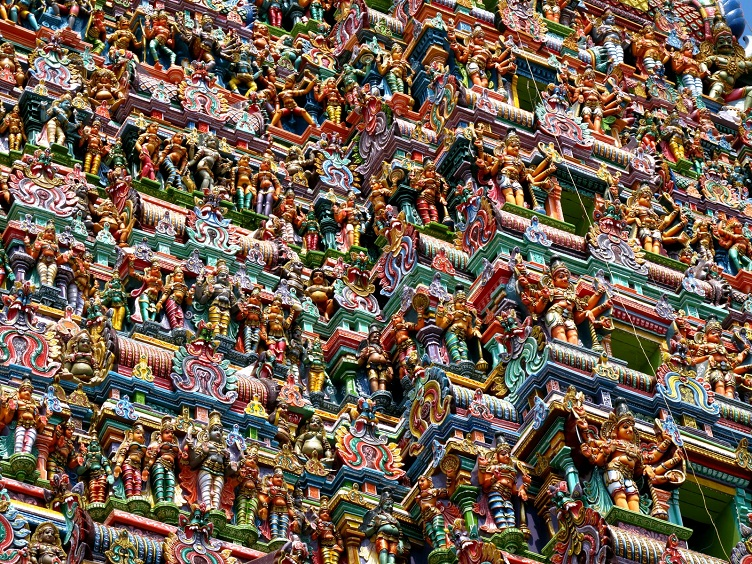 detailed sculprures tower meenakshi amman temple