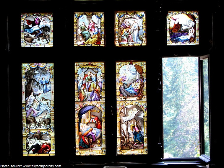 peles castle stained glasses