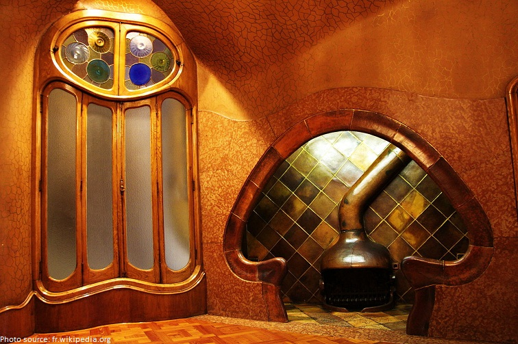 casa batllo mushroom shaped fireplace