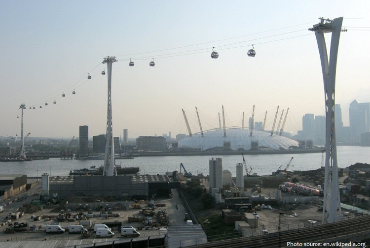londons air line over river thames