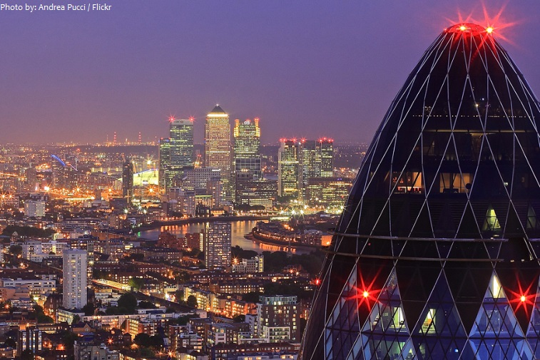 the gherkin at night
