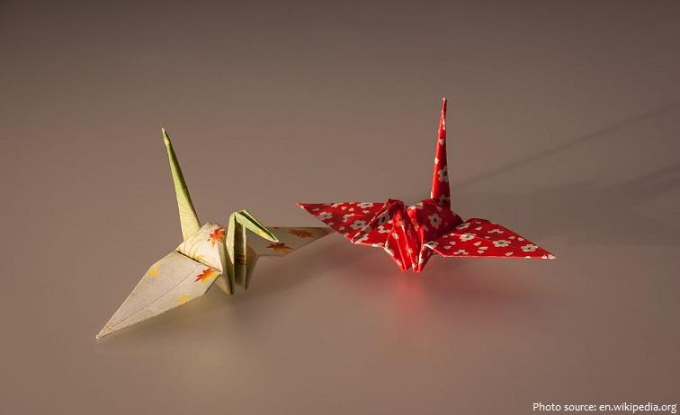 cranes origami paper