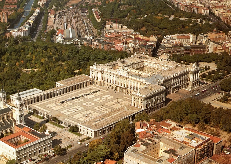 royal palace of madrid air view
