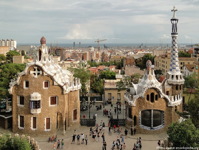 park guell two pavilions