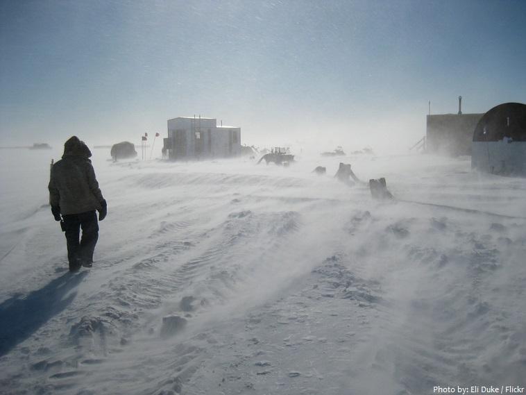 snow storm antarctica