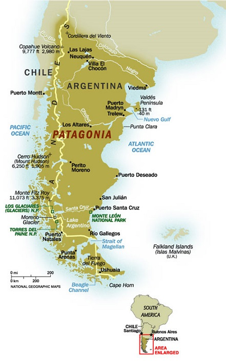 Interesting Facts About Patagonia Just Fun Facts - Argentina map mountains