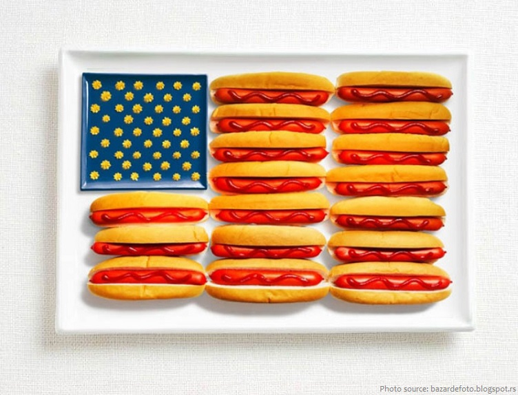 hot dogs american flag