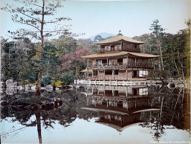painted photograph of the golden pavilion in 1885