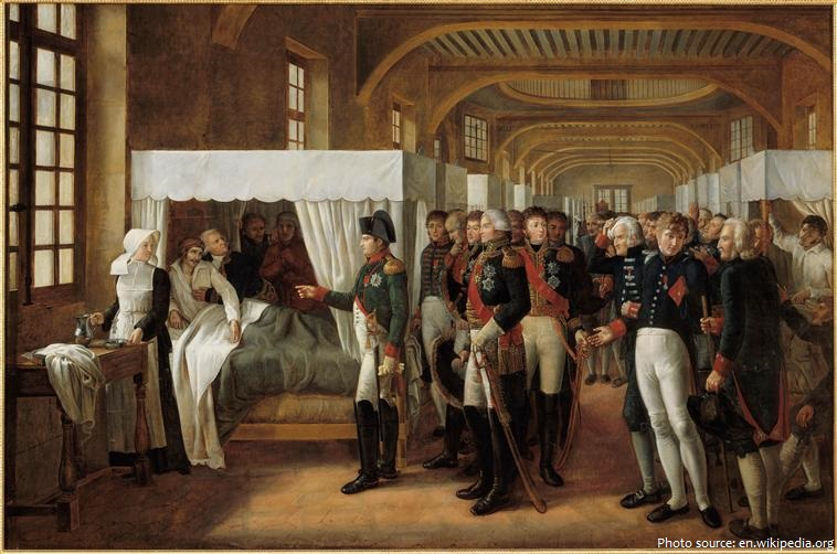 Napoleon I visiting the infirmary of les invalides