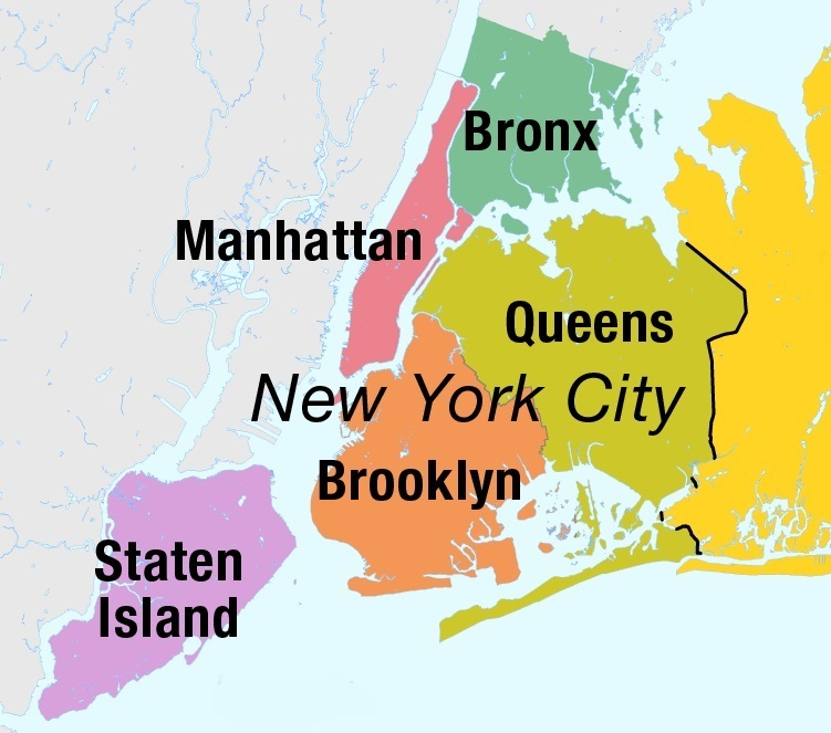 map of the boroughs of new york city