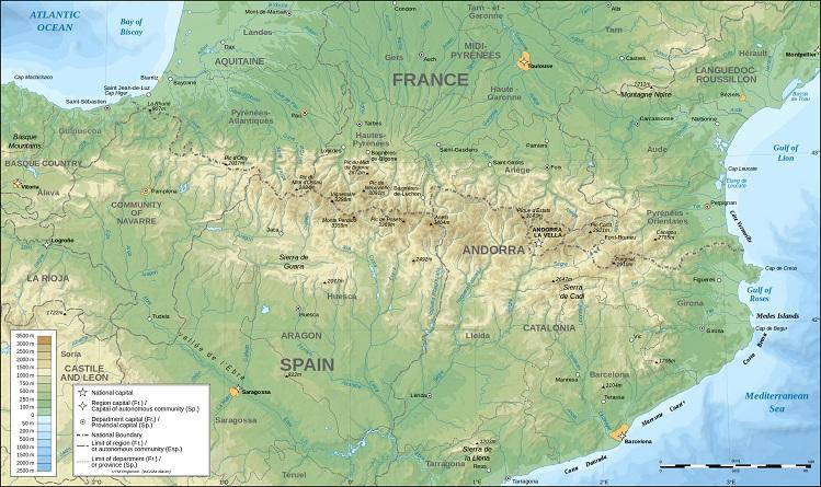 pyrenees topographic map